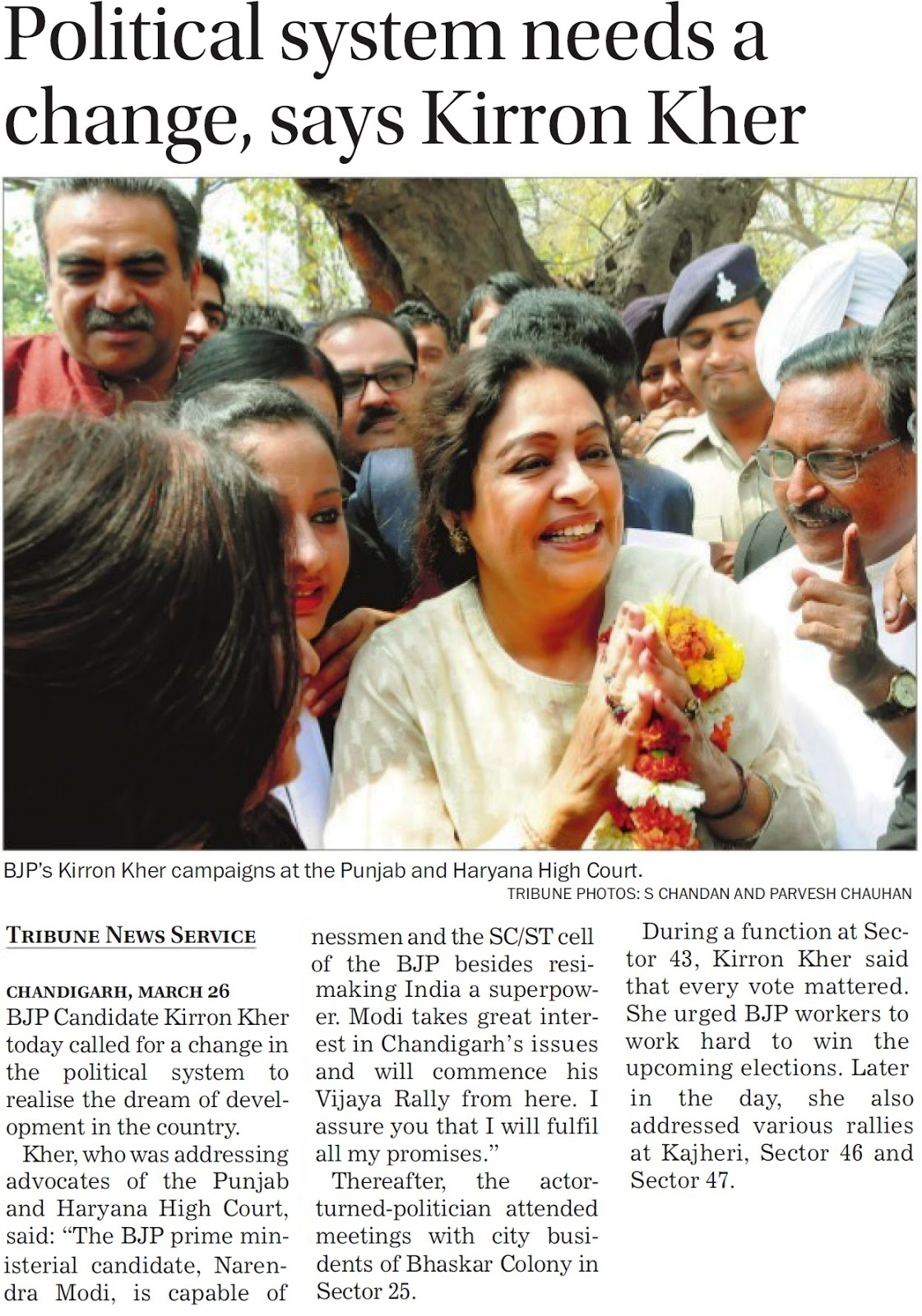 BJP's Kirron Kher campaigns at the Punjab & Haryana High Court. Alonwith Ex-MP Satya Pal Jain & other BJP leaders
