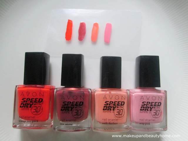avon speed dry, orange you quick, rose amour, swift sherbert, asap pink