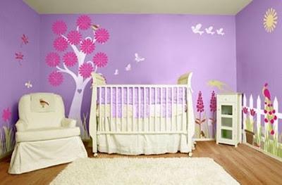 quarto de bebê, pintura, parede, decorativa