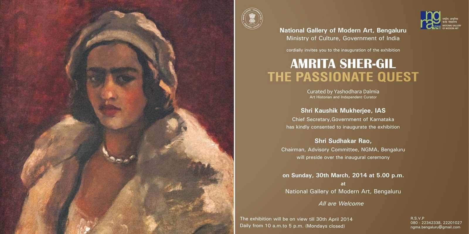 "Exhibition ""Amrita Sher-Gil"" at NGMA Bangalore, image courtesy NGMA Bangalore"