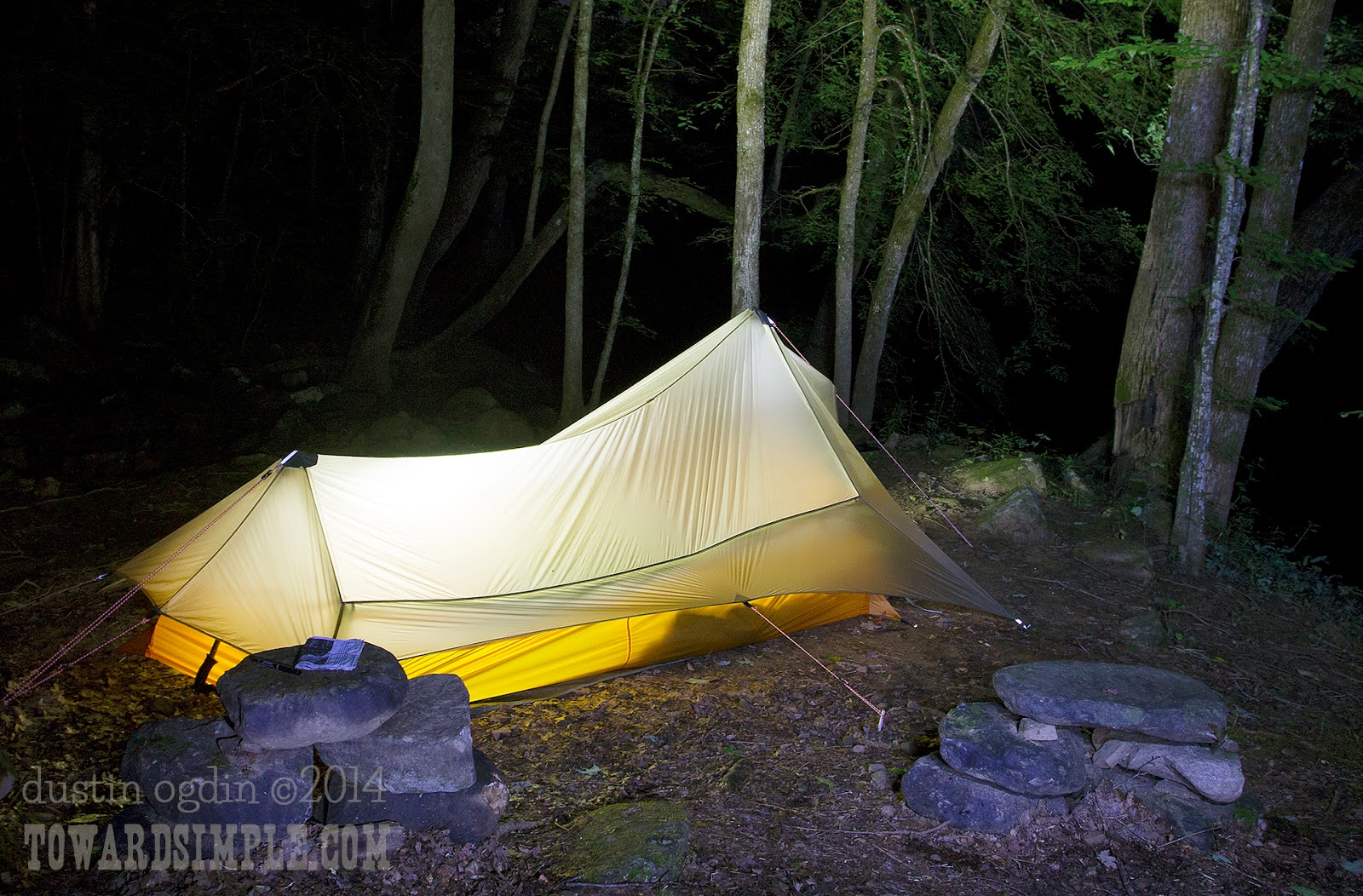 Glowing Big Agnes Scout tent nighttime
