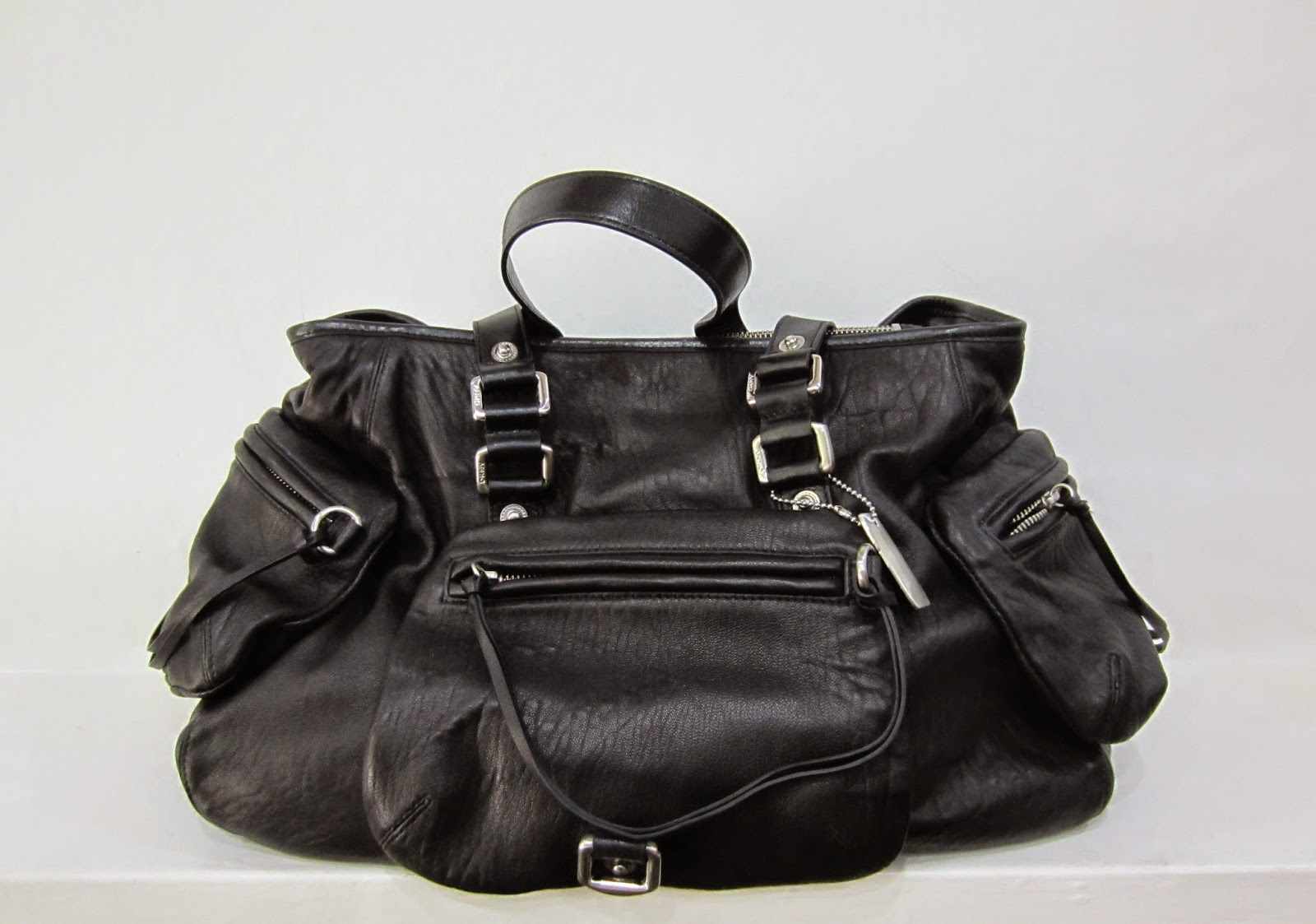 DKNY Black Leather Bag with Silver Hardware