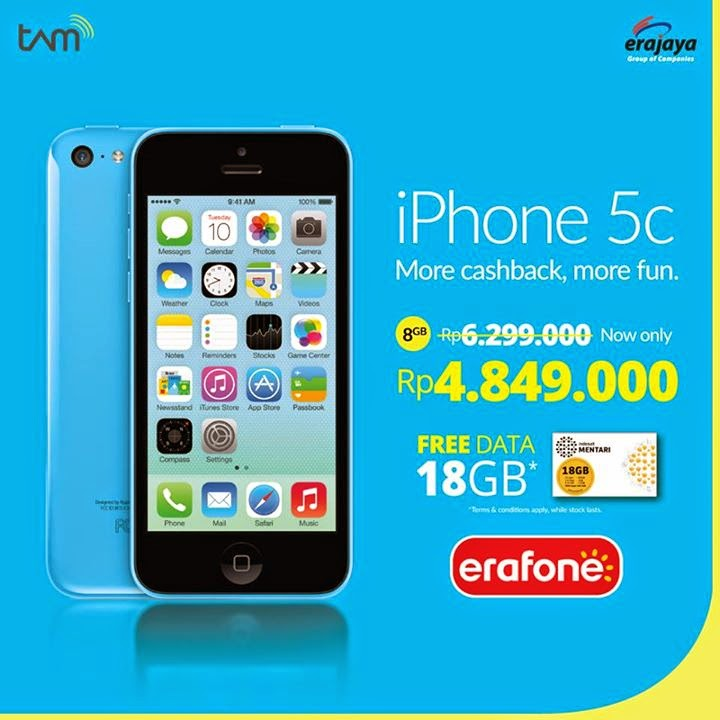 Promo iPhone 5C Rp 4.849.000 + gratis paket data internet