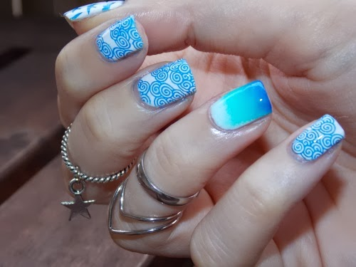 metallic blue moyou london, too yacht to handle china glaze, stamping sur blanc essie
