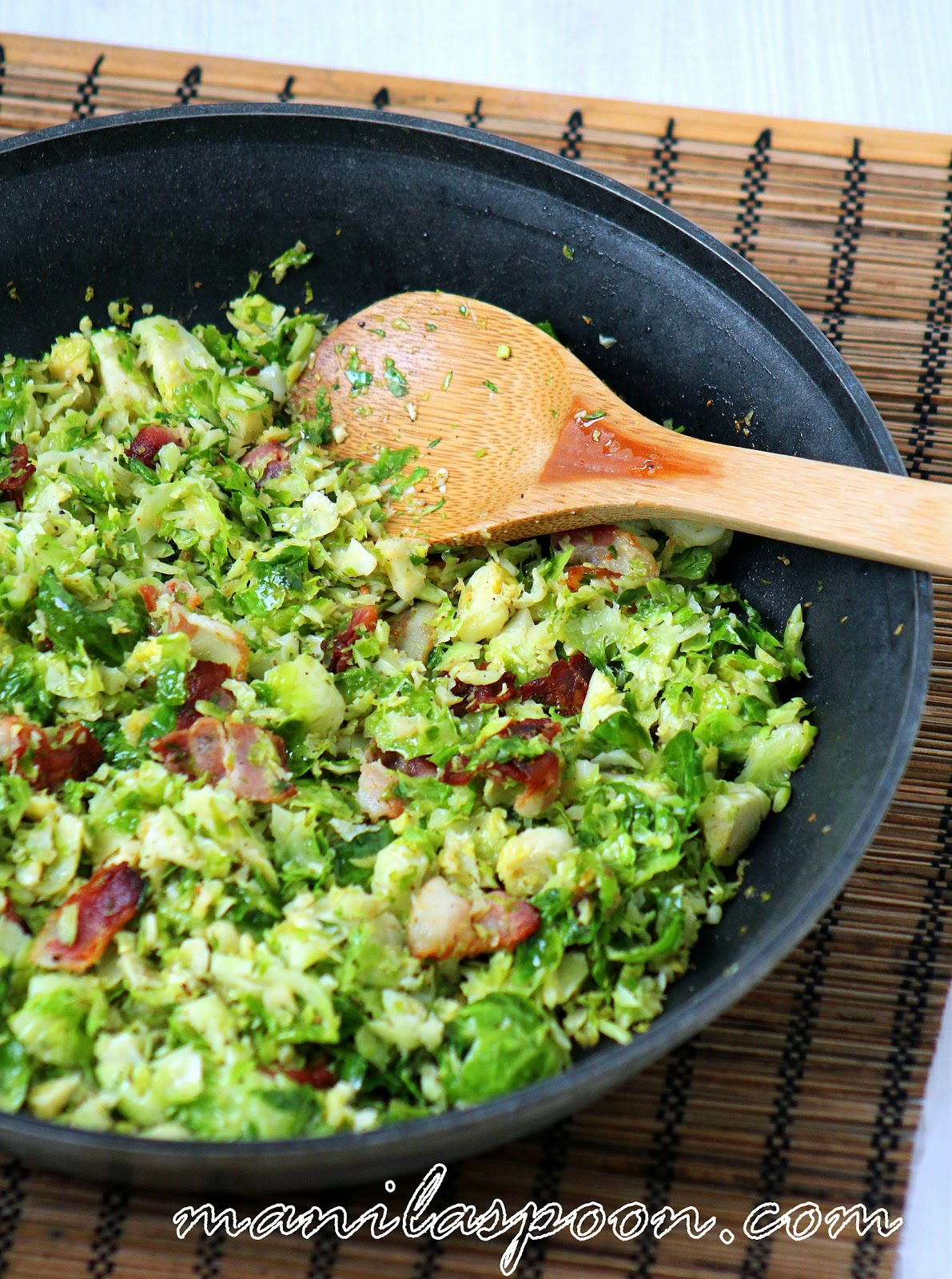 Flavored with bacon and garlic these sauteed brussels sprouts will ...