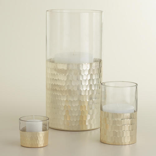 COST PLUS WORLD MARKET SILVER GLASS NALINA HURRICANE CANDLE HOLDERS