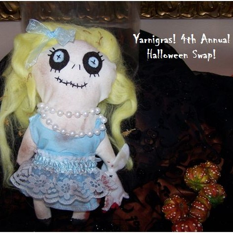 zombie doll Halloween craft swap Yarnigras blog snail mail party