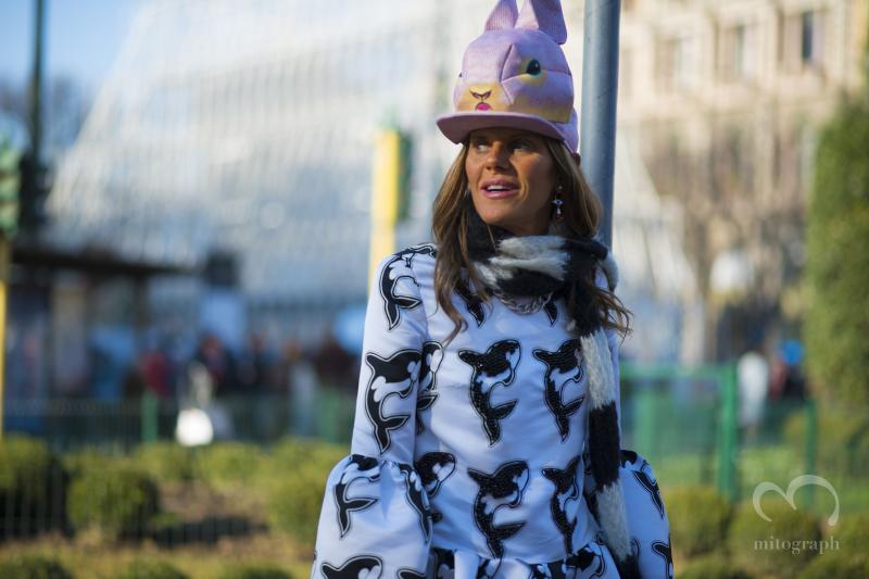 Anna Dello Russo leaves Jil Sander show during Milan Fashion Week 2014 Fall Winter MFW