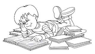 Colorear niño estudiando de muchos libros - Portal Escuela