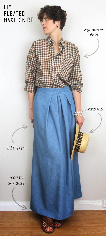 lula louise diy pleated chambray maxi skirt