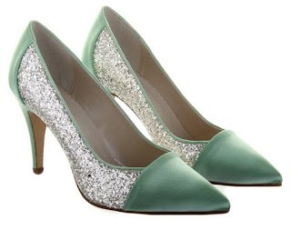 Green and glitter pointed toe court shoes