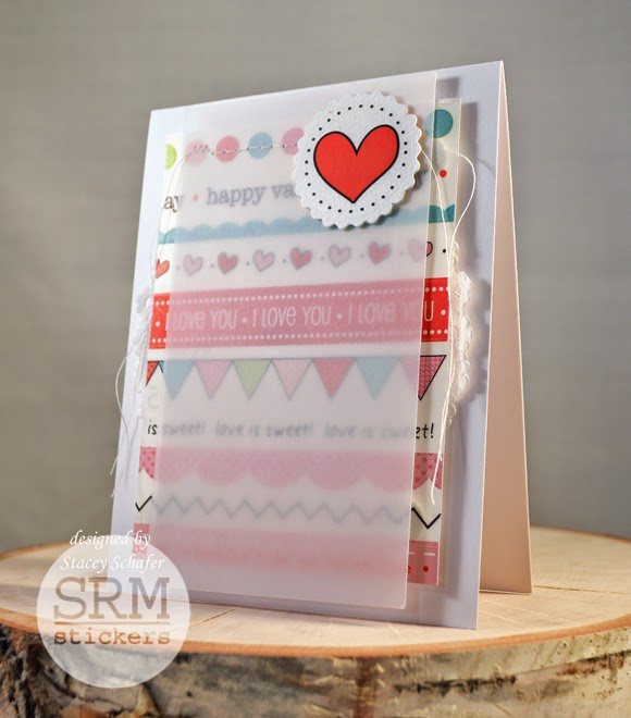 SRM Stickers Blog - Love Cards Trio by Stacey - #valentine #borders #punchedpieces #stickers #heartdoily #labels #twine #shimmer #glassinebags