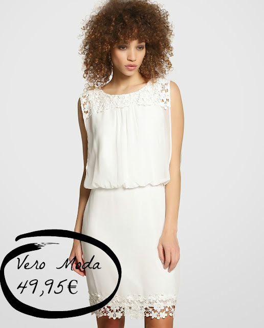 vestido novia low cost corto sencillo sin mangas barato Vero Moda