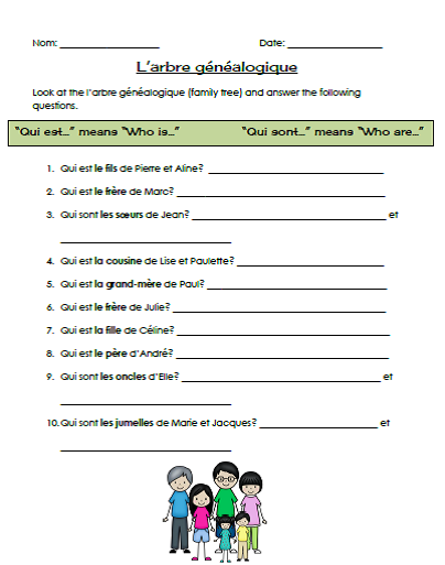 http://www.teacherspayteachers.com/Product/La-famille-A-French-family-themed-unit-1247491