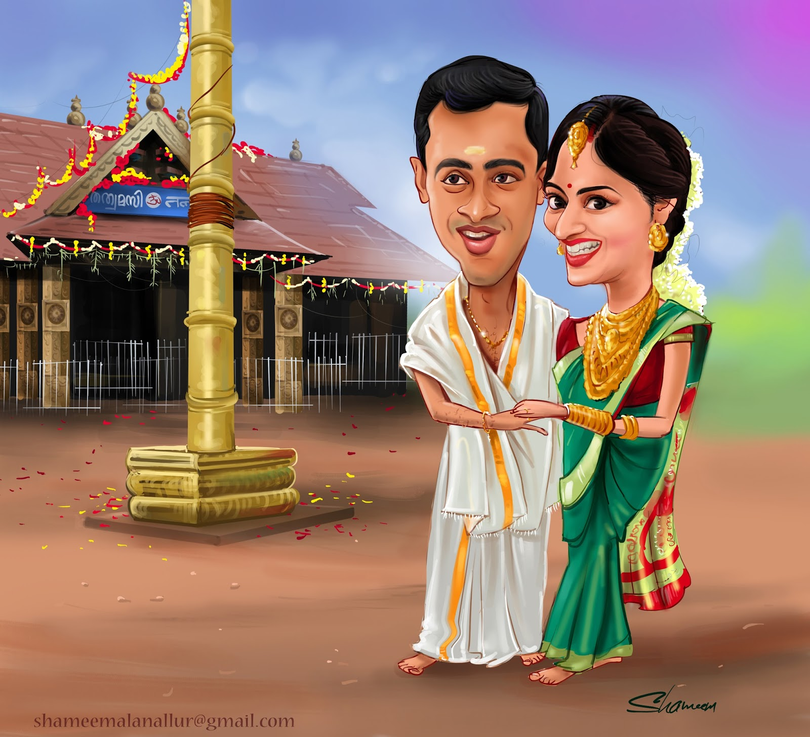 Wedding Gifts For Friends In Kerala : Creative Artist. Shameem : traditional wedding gift caricature