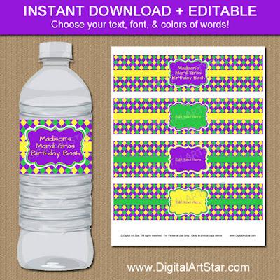 Editable Mardi Gras Water Labels in purple, yellow, green