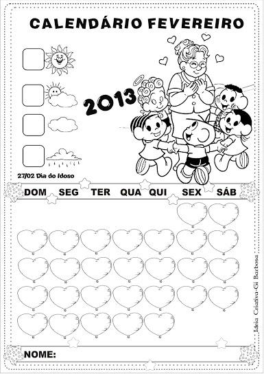 Calendário Fevereiro 2013 sem Numeração Turma da Mônica