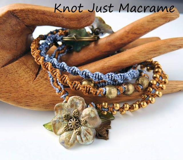 Macrame wrap bracelet featuring handpainted lucite flowers.