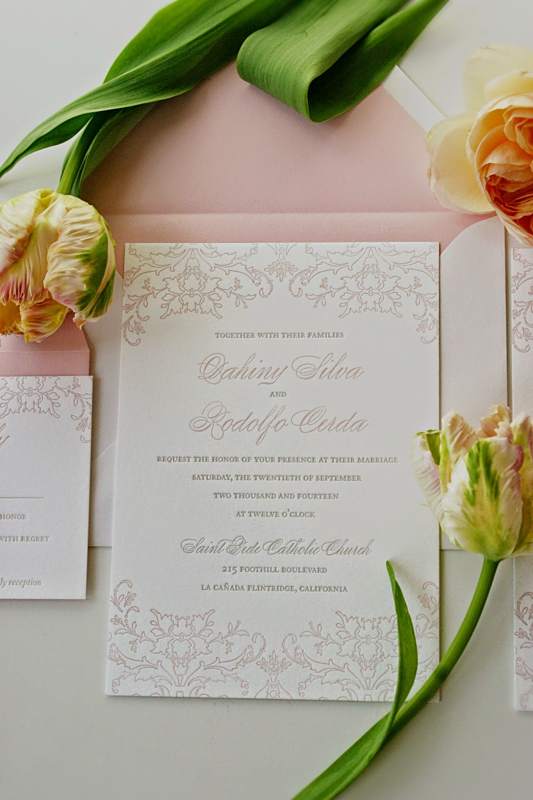 Pink Damask Invitation Wedding Letterpress Invitation by Sweetly Said