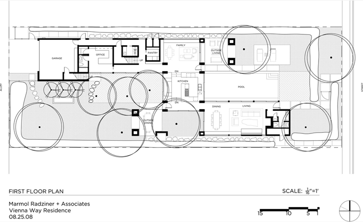 Ground floor plan of Vienna Way Home by Marmol Radziner