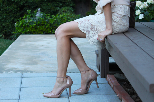 nude pumps + lace skirt