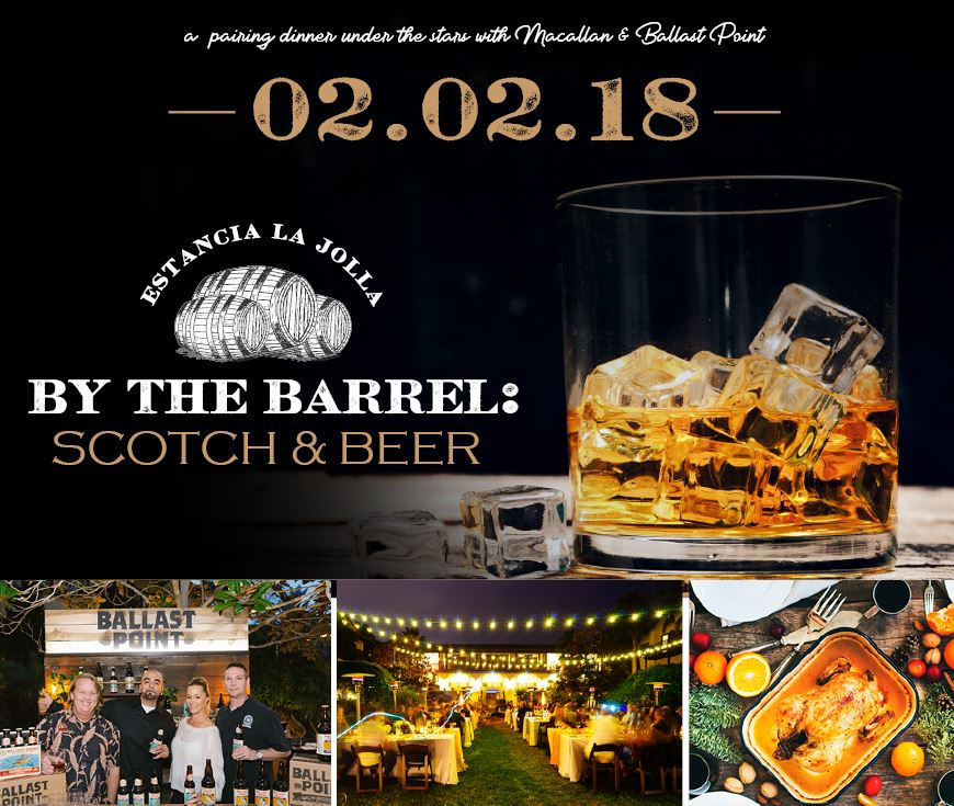 Estancia La Jolla Hosts Whiskey & Beer Dinner On February 2!