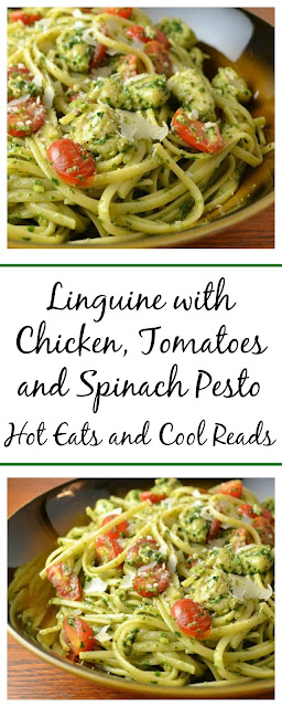 An easy and delicious pasta recipe that'sperfect for Sunday dinner or even a holiday meal! Linguine with Chicken, Tomatoes and Spinach Pesto Recipe from Hot Eats and Cool Reads!