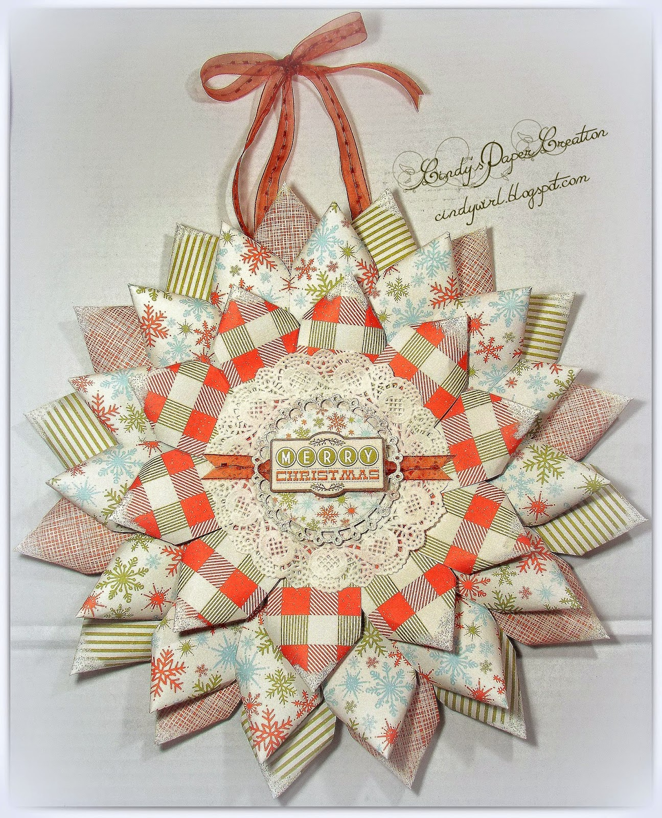 The W R Memory Keepers North Pole Designer Paper Wreath by cindywirl.blogspot.com