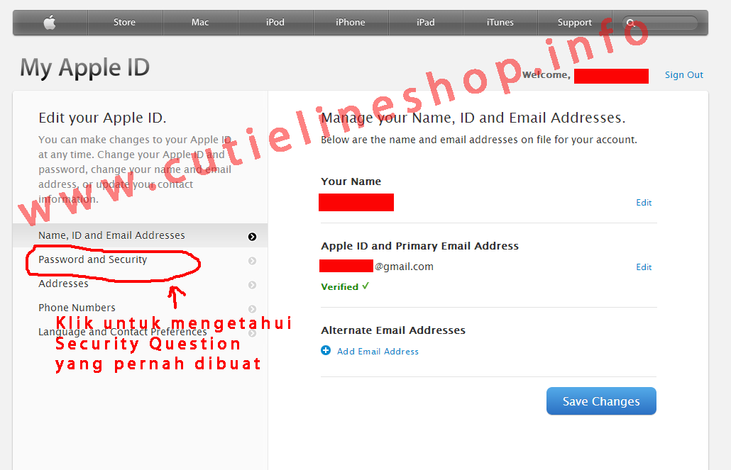 change apple id password