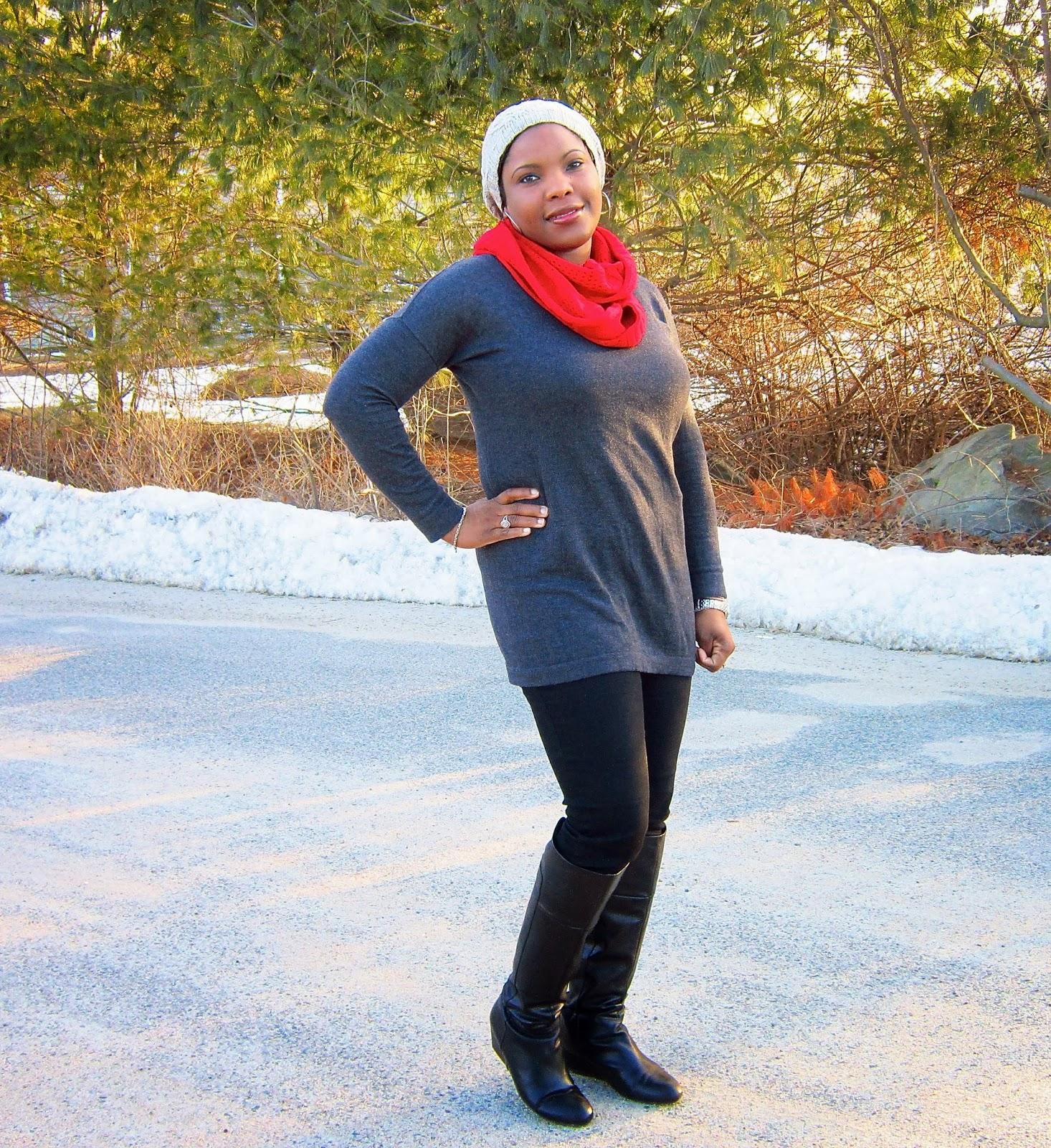 tunic sweater with skinny pants and boots