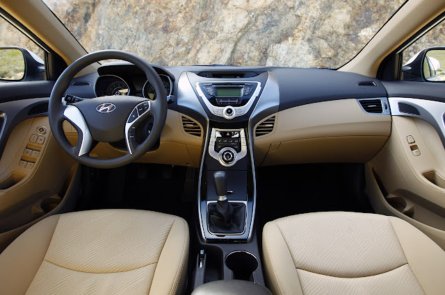 Two-tone (tan & black) interior of the 2011 Hyundai Elantra