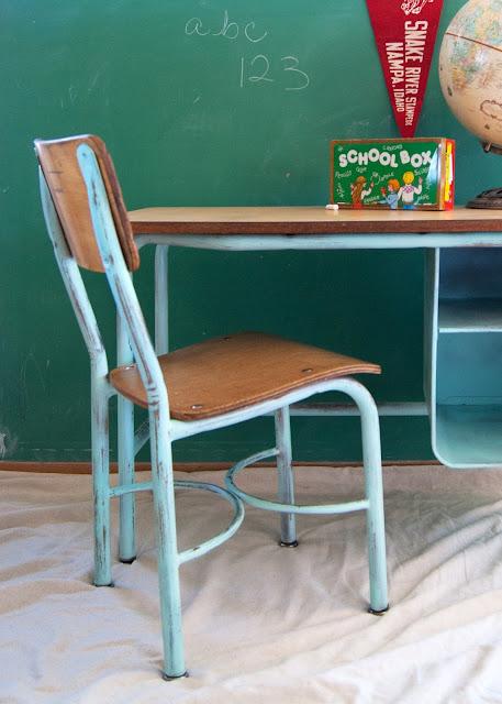 aqua school desk, globe, pennant,