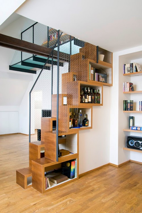 creative stair design with storage box in stair wall