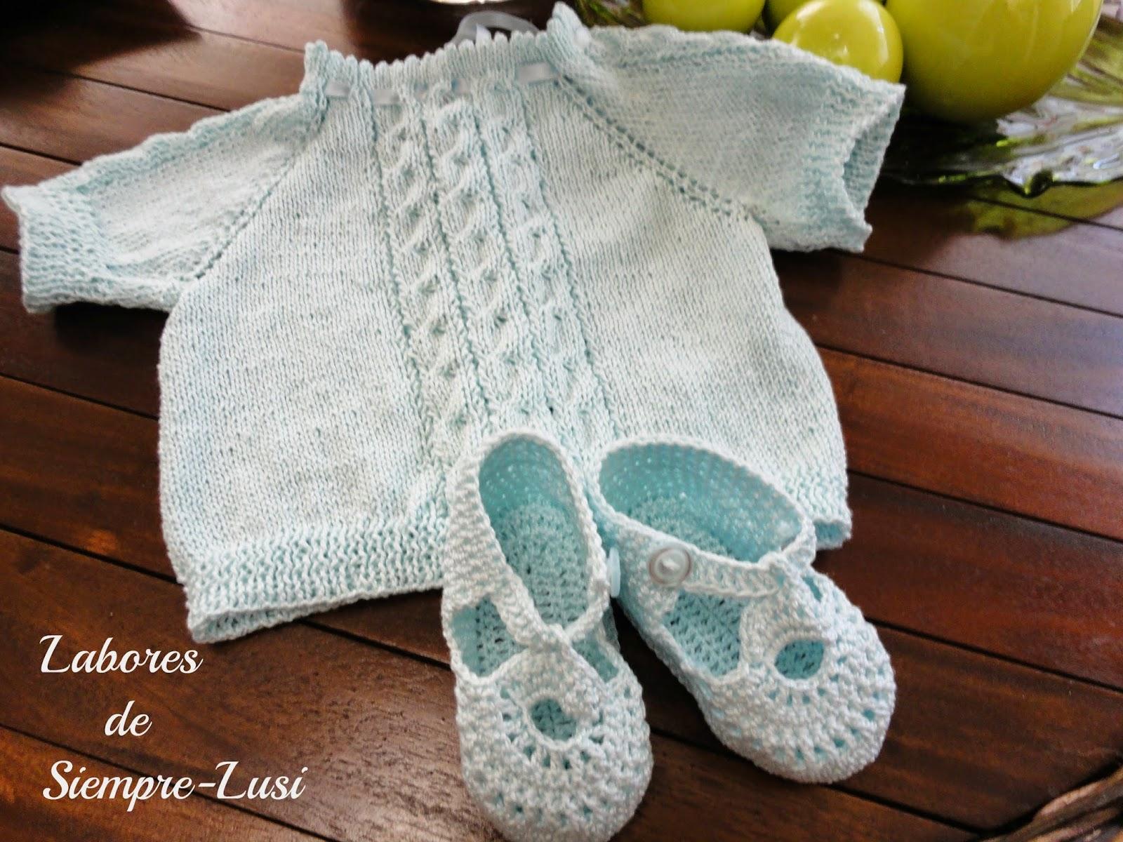 Labores de siempre: Jersey bebé en punto de Trenzas con Sandalias