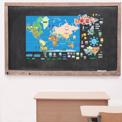 History & Geography Wall Sets use reusable stickers to help kids learn geography with world maps, us map, and historical documents