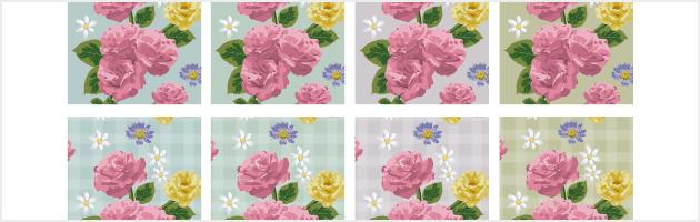 8種類の清潔感のあるキレイな花柄パターン | 商用利用も可なフリーの花柄パターン素材
