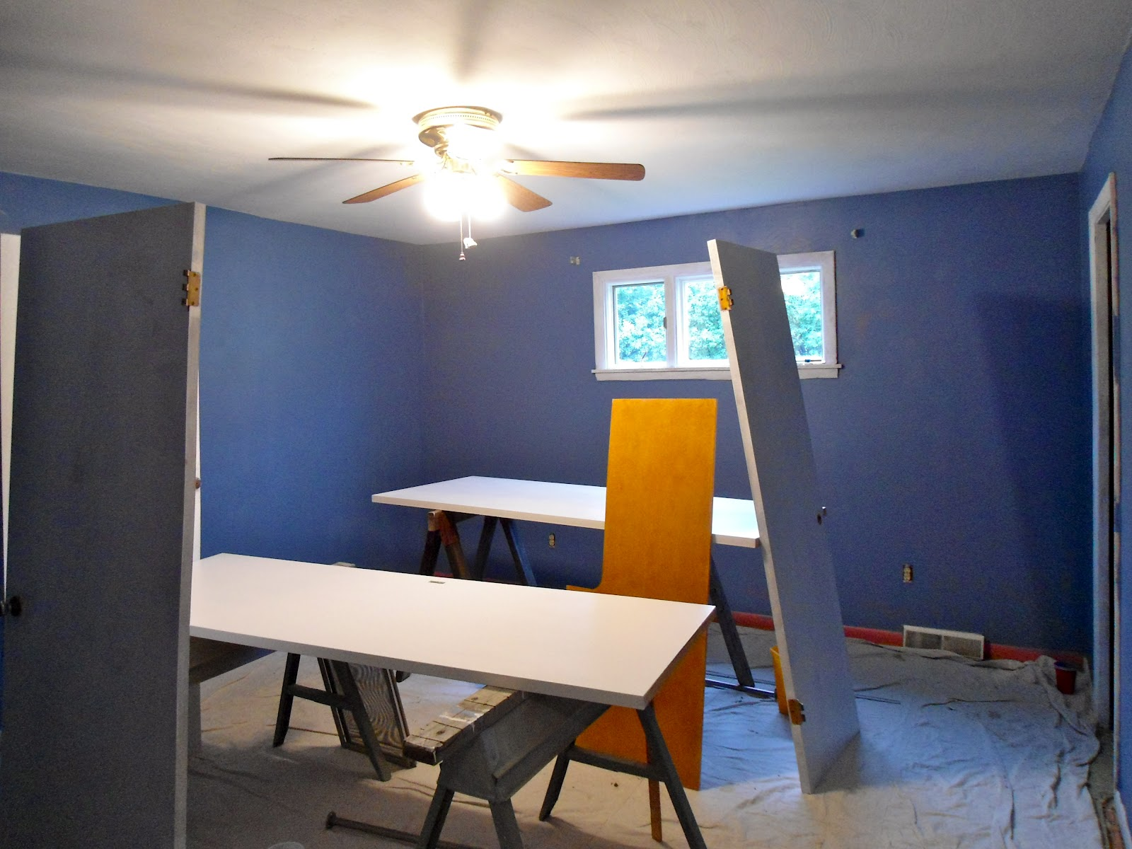 Blue accent wall bedroom her bedroom before was white