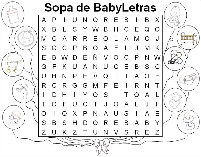 Sopa de letra de bebé - Imagui