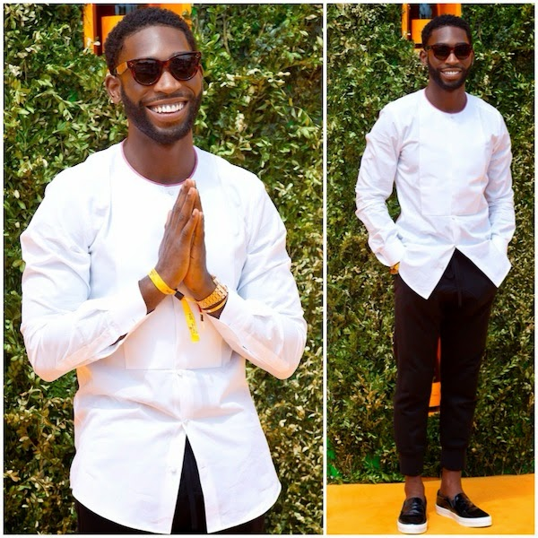 Tinie Tempah in white collarless bib front Dolce Gabbana shirt at Veuve Clicquot Gold Cup Final at Cowdray Park Polo Club on 20th July 2014