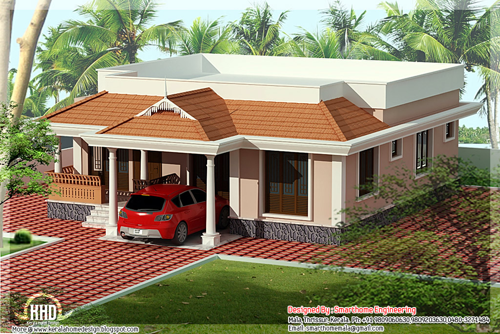 Kerala home design and floor plans 1400 3 bedroom for Small villa plans in kerala