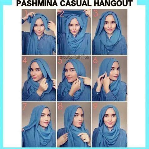 cara memakai jilbab pashmina casual