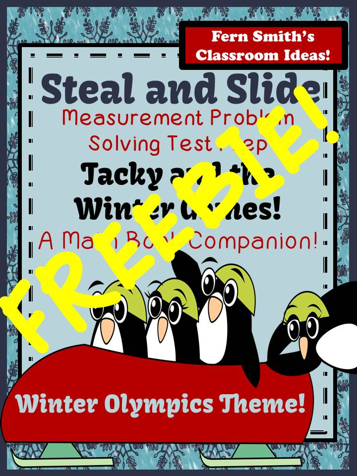 Fern Smith's Classroom Ideas FREEBIE Tacky and the Winter Games Steal and Slide Test Prep A Math Book Companion
