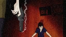 Morte, em formato de cartoon um revólver solta fumaça após ter sido usado contra homem morto mais a frente
