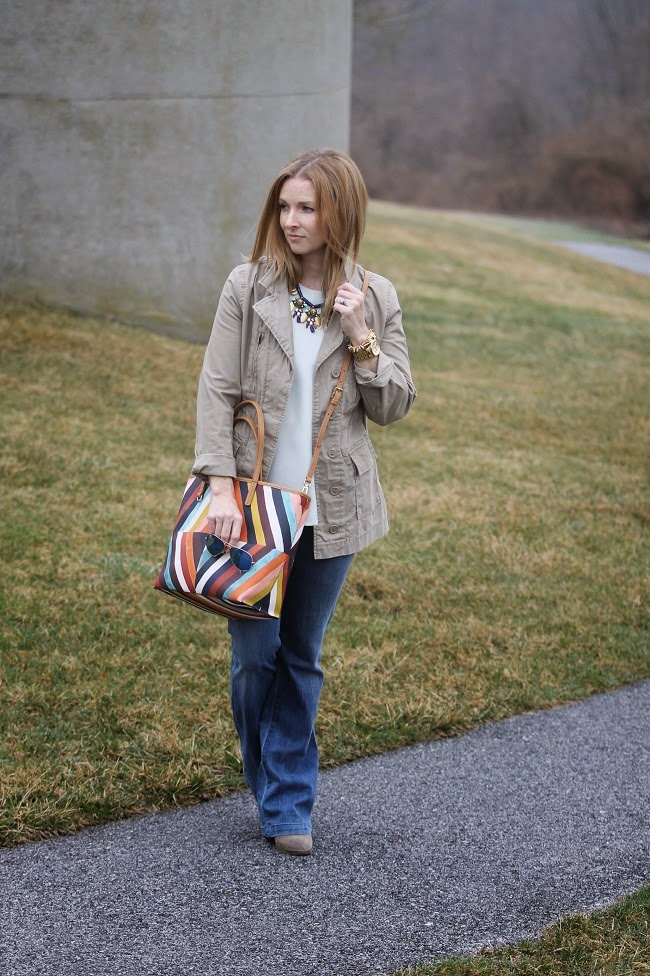 old navy jacket, jcrew shirt, goldsign jeans, tory burch, ray bans, jcrew necklace, jcrew booties