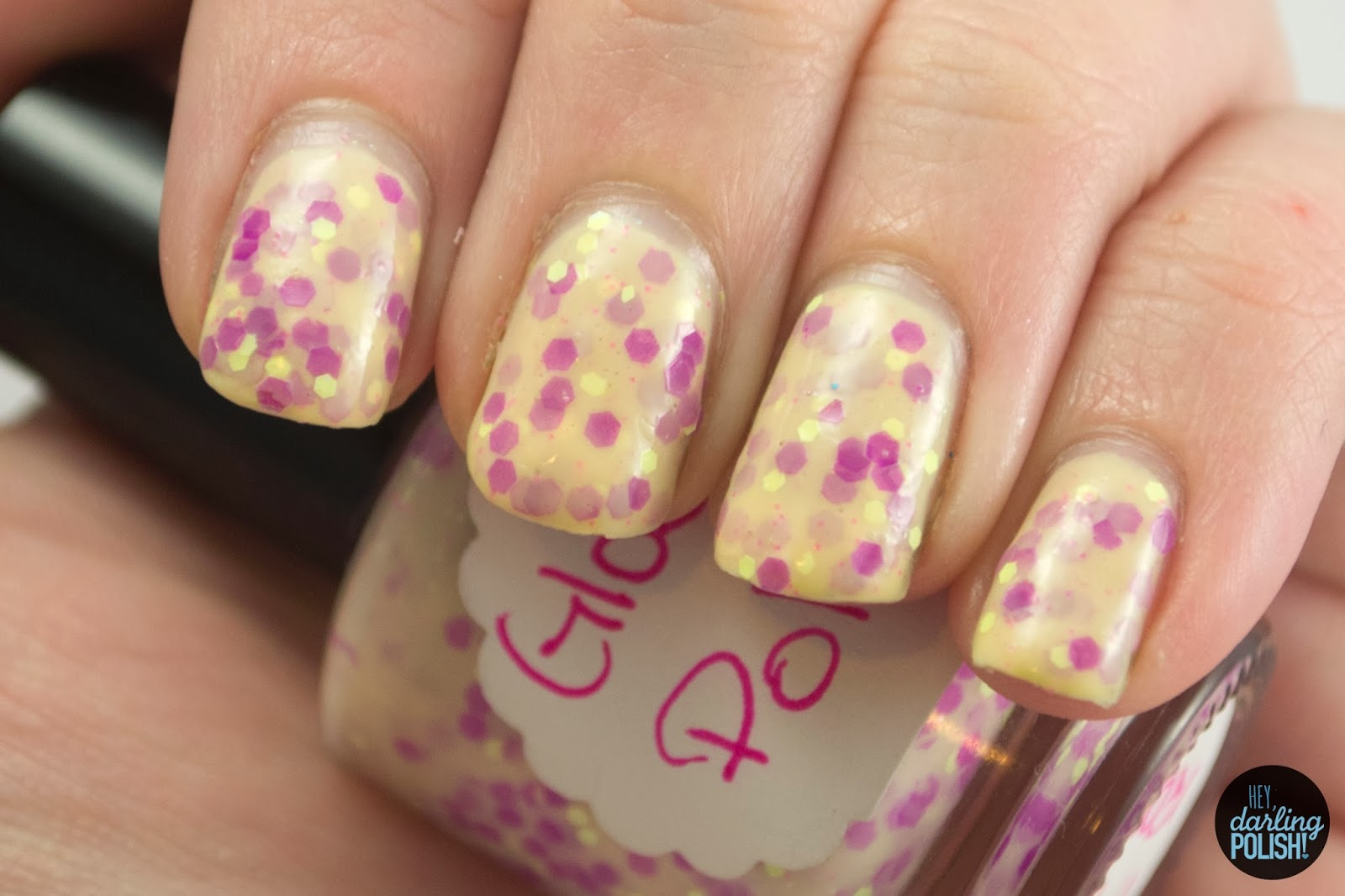 indie, indie polish, glossome polish, indie friday, glitter crelly, hey darling polish, pop rocks, yellow, purple