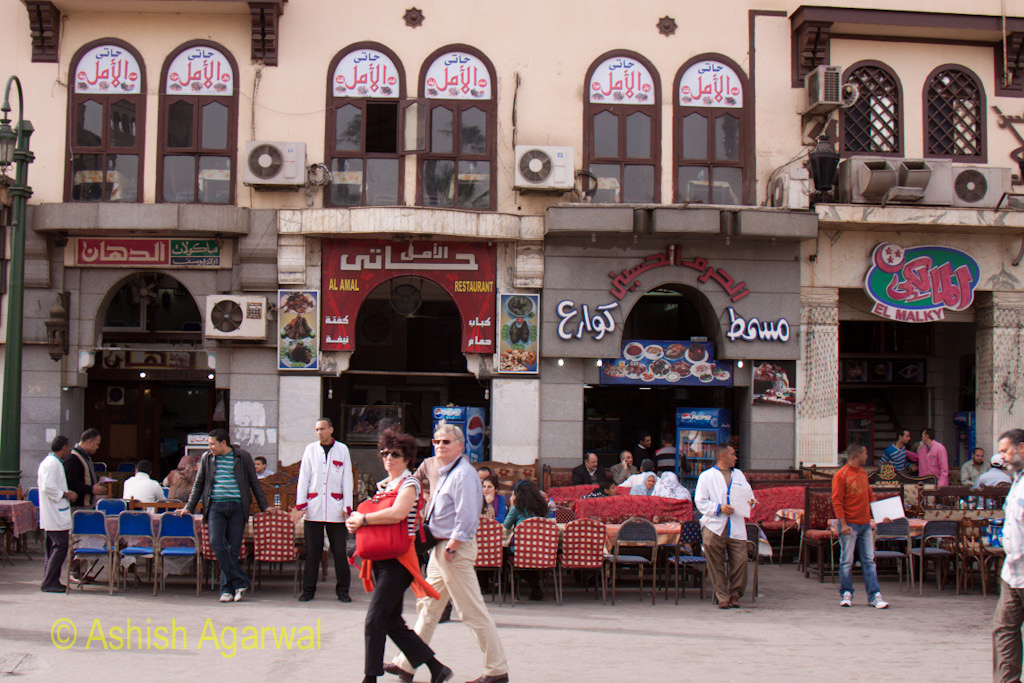 Open air cafes in front of the Khan El Khalili market in Cairo