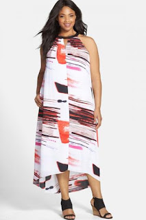 DKNYC Print Sleeveless High/Low Maxi Dress (Plus Size)