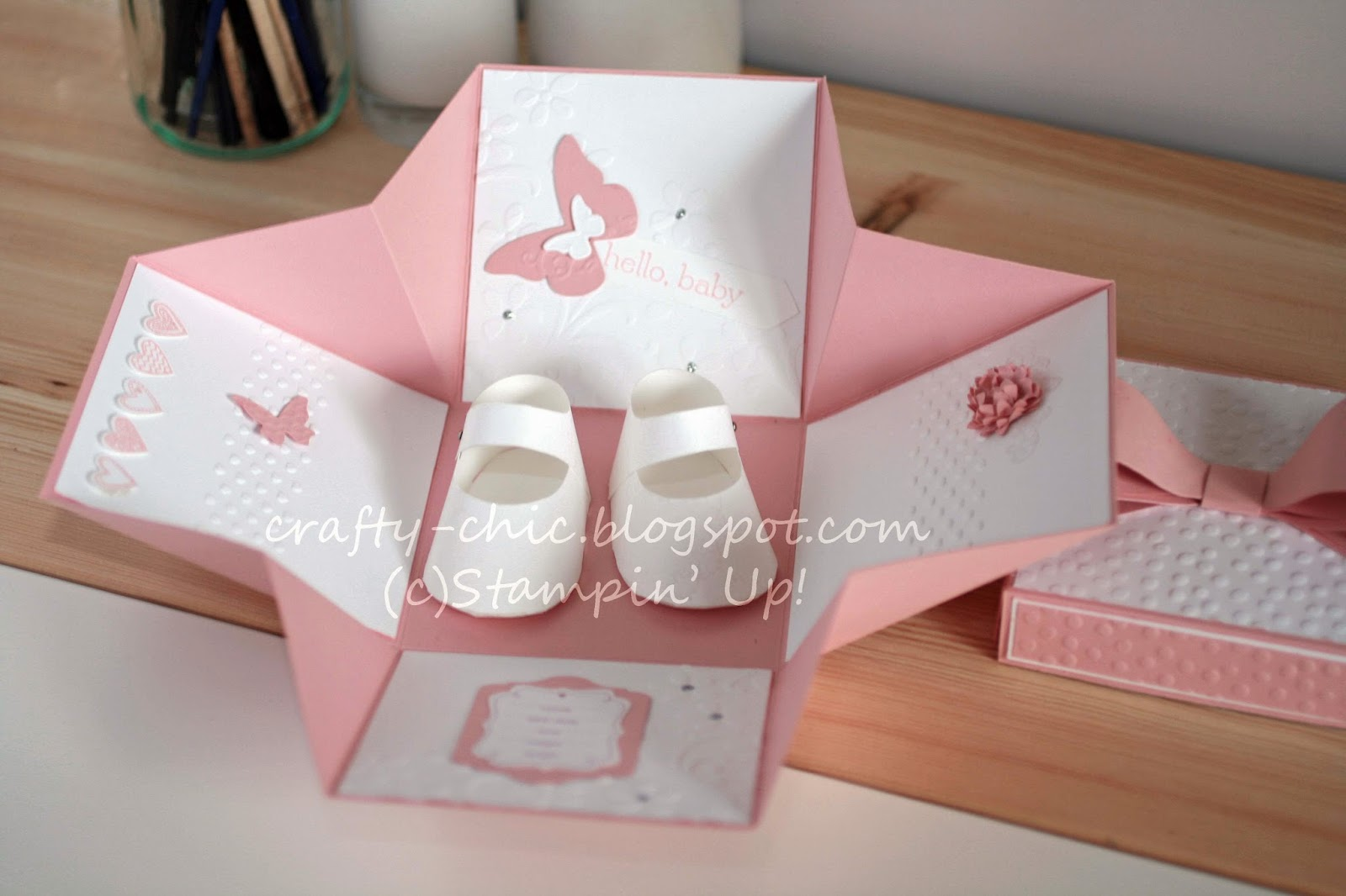 A pink exploding box made for a baby girl