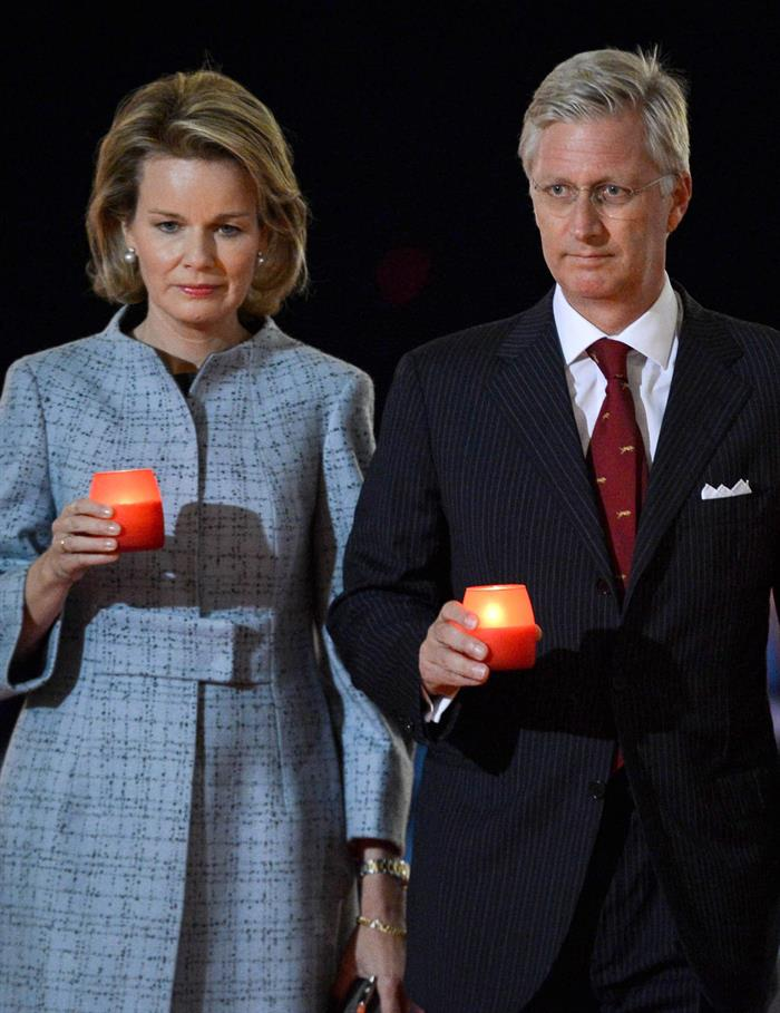 Belgian King and Queen with Princess Elisabeth at WW1 Commemoration