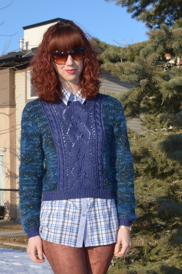 metallic yarn, sweater, painted denim